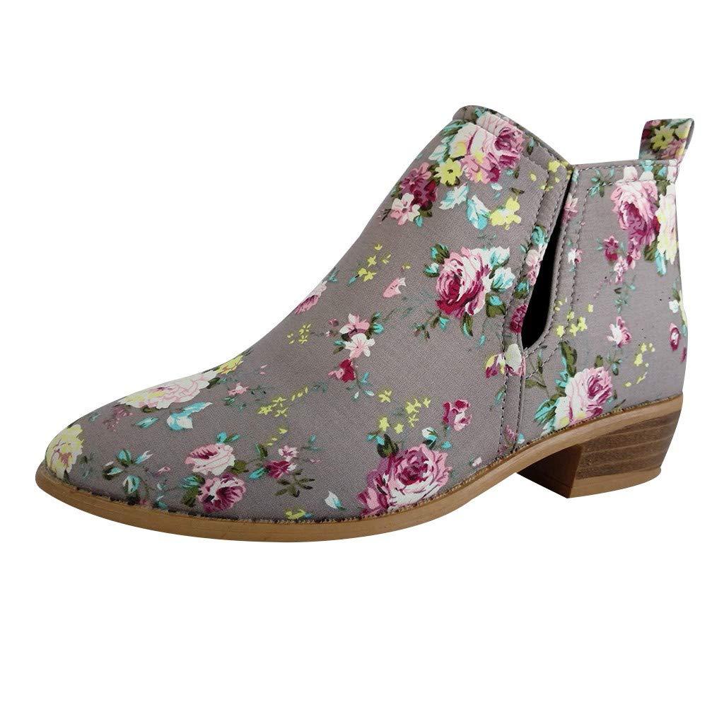 SSUPLYMY Damen Leder Kurze Stiefel Elegant Blumendruck Lederstiefel Mode Blockabsatz Stiefeletten Bequeme rutschfeste Winterstiefel