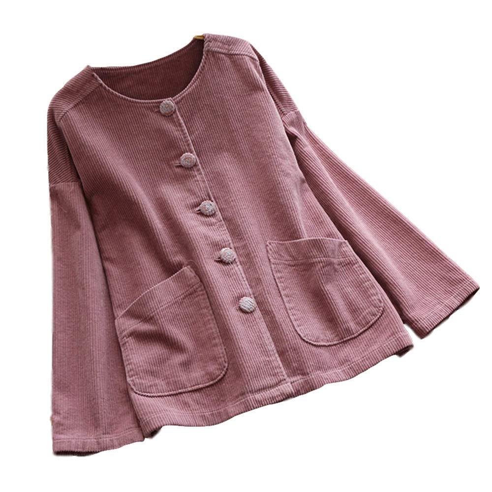 KCatsy Donna Plus Size Cappotto Giacche Velluto A Coste Scollo Tondo Tasche Bottoni Largo Cappotti
