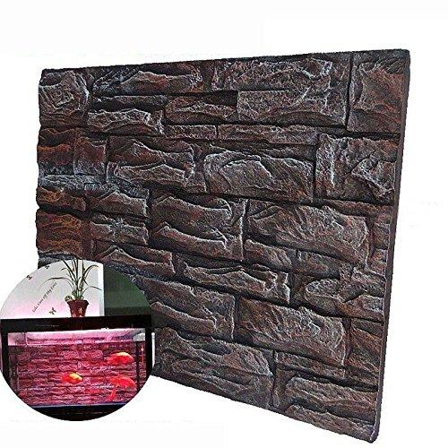 2PCS 3D Foam Rock Reptile Aquarium Fish Tank Background Backdrop Board 30X45CM (Red Glow)
