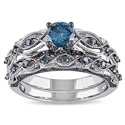 Romantic Fate Double Colors Blue Gemstone Multilayer Diamond Accented Personalized Ring (Halloween 6 1080p)