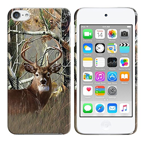 FINCIBO Case Compatible Apple iPod Touch 5 6th Generation, Back Cover Hard Plastic Protector Case Stylish Design iPod Touch 5 6 - Deer Hunter -