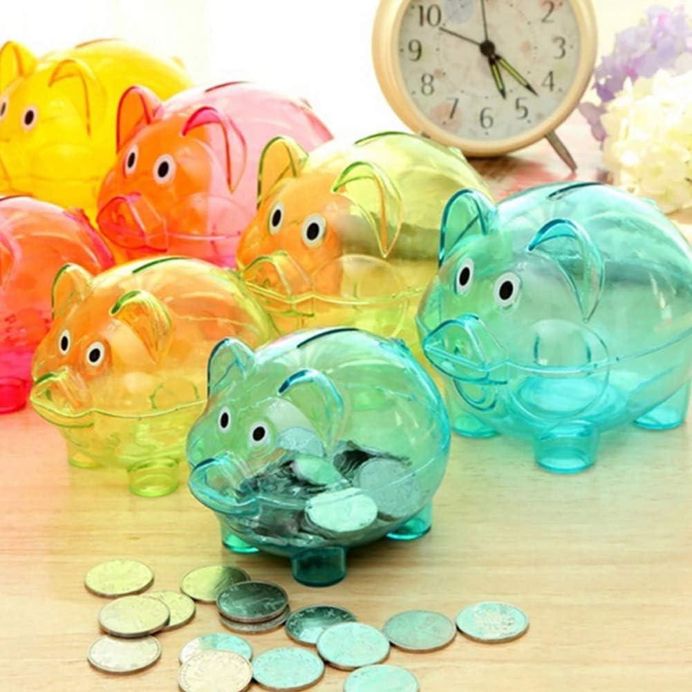 GwUzsfu Piggy Bank Lovely Cartoon Pig Transparent Plastic Piggy Bank Coin Money Box Kids Gift Rose Red