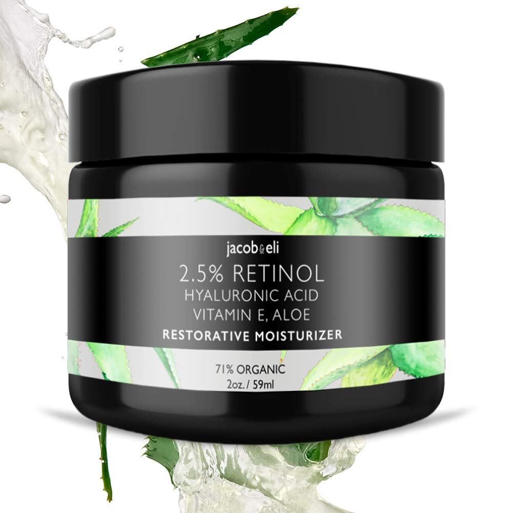 2.5% Retinol Cream - Top Influencer - Organic & Vegan - Luxury Quality Moisturizer for Face & Eye Packed with Organic Retinol, Vitamin E, Jojoba Oil, Hyaluronic Acid, Shea Butter, Organic Aloe & More. Jacob & Eli