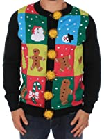 Men's Ugly Christmas Sweater - Ugly Panel Cardigan by Tipsy Elves