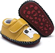 HsdsBebe Baby Boys Girls Pu Leather Hard Bottom Walking Sneakers Toddler Rubber Sole First Walkers Infant Cartoon Slippers C