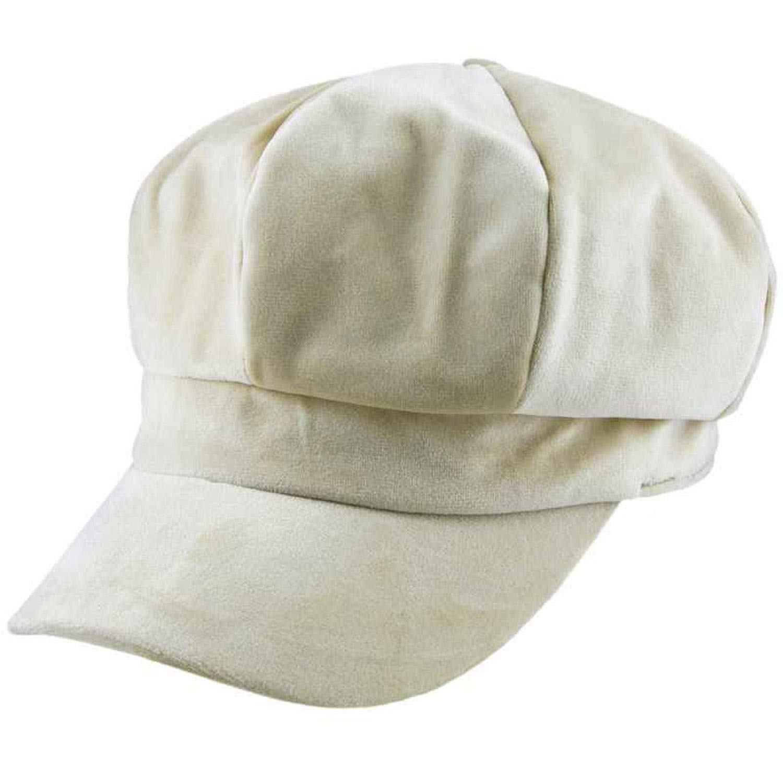 UKURO Women's Velvet Beret Cap Winter Warm 8 Panel Newsboy Hat Cabbie Hat,Khaki