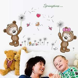 Lindo oso de diente de león pegatinas de pared para niños