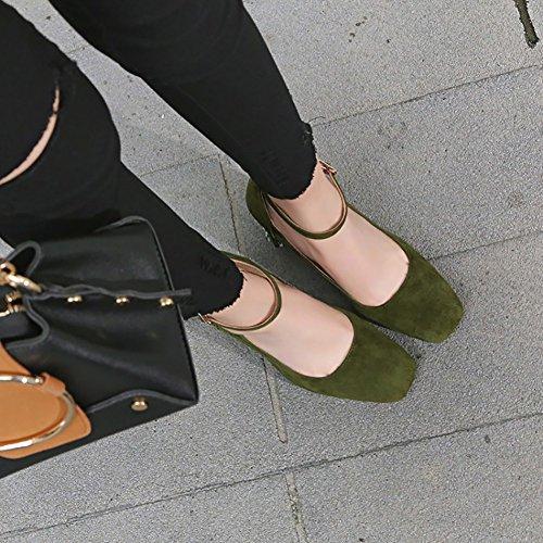 Oveja Black Alto De Color Tacón Tamaño Cuero ZJM Piel 37 con Tacón Zapatos De Tacón Alto De De Grueso Green con con Zapatos Forma qHHRTZz