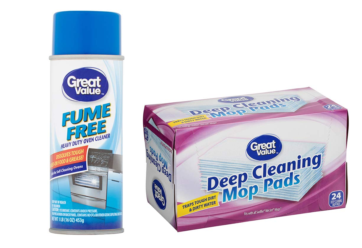 Great Value Single Fume Free Heavy Duty Oven Cleaner, 1 lb. Bundle with Great Value Deep Cleaning Mop Pads, 24 Count