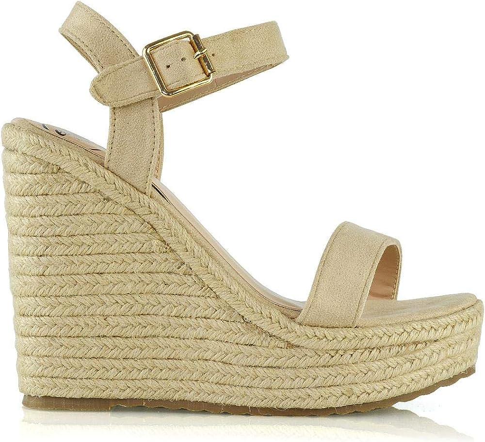 ESSEX GLAM Womens High Wedge Heel Platform Sandals Ladies Espadrille Ankle Strap Shoes Size 3-8