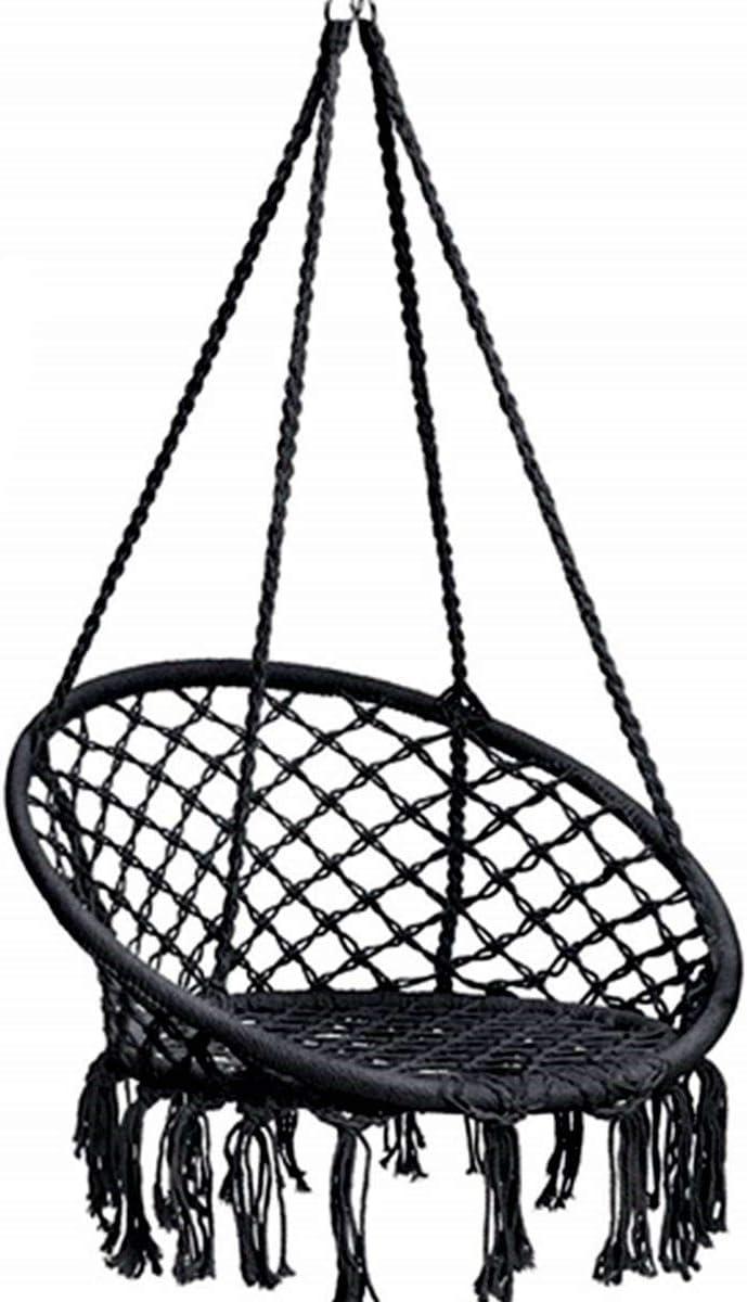 BCGI Hammock Chair Macrame Swing, Hanging Cotton Rope Swing Chair, Comfortable Sturdy Hanging Chairs for Indoor,Outdoor,Bedroom,Patio,Yard, Garden,Home,260LBS Capacity