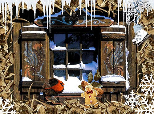 Home Comforts Peel-n-Stick Poster of Chalet Window Winter Vivid Imagery Poster 24 x 16 Adhesive Sticker Poster Print (Chalet Window)