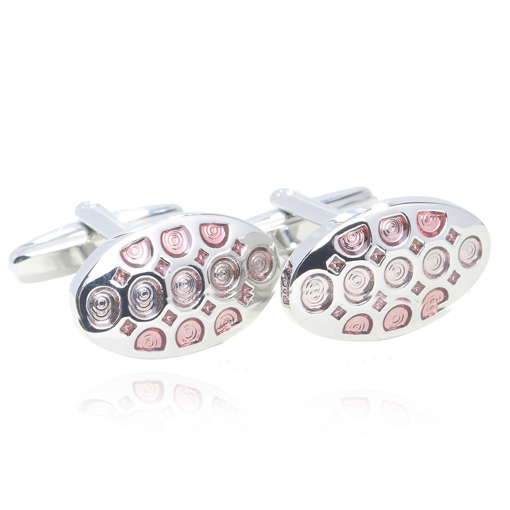 Digabi Oval Pink Glazing Cufflinks with Gift Box