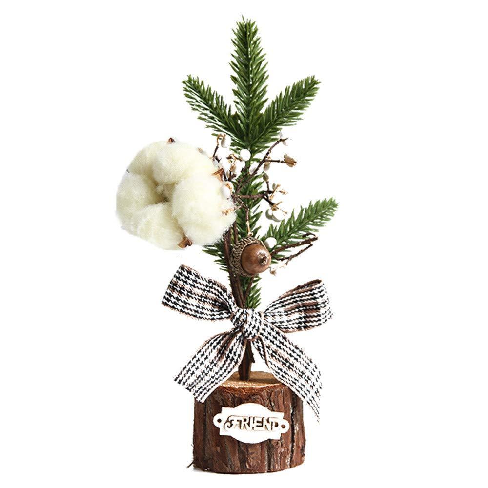 Lovewe Christmas Desk Decoration Mini Christmas Tree Ornament With Light Christmas Decoration Gift (B)