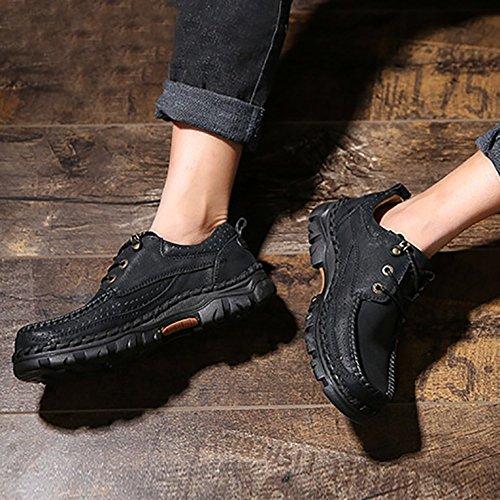 Odema Herren klassische Arbeitsstiefel Schnurhalbschuhe Oxford Schuhe Schwarz
