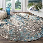 Safavieh Monaco Collection MNC225E Modern Abstract Grey and Light Blue Round Area Rug (5 in Diameter)
