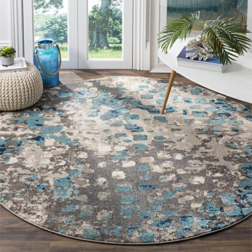 Safavieh Monaco Collection MNC225E Modern Abstract Grey and Light Blue Round Area Rug (5' in Diameter) (Sale Rug)