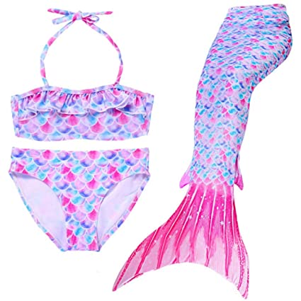 BeachBeing Cola de Sirena Niña, Colas de Sirena para Nadar, 3pcs Traje de Baño Niñas, Disfraz Sirena Niña para Nadar/Vacaciones/Fiesta/Fotos (sin ...