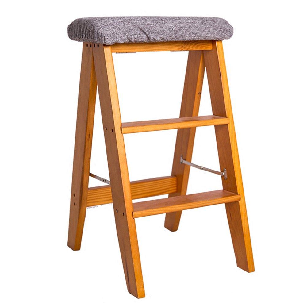 3ステップスツールソリッドウッド折りたたみラダースツール家庭用室内創造性キッチンダイニングテーブルバーチェアアダルトポータブルイエローウォールナットカラー (色 : グレー) B07D6YY157 グレー グレー