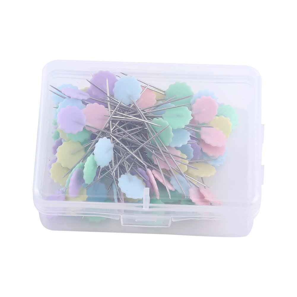 100Pcs Patchwork Pins Flower Head Pins Sewing Knitting Needle Pins Sewing Quilting Accessories DIY Craft Tools (2# Flower 2) Yosoo