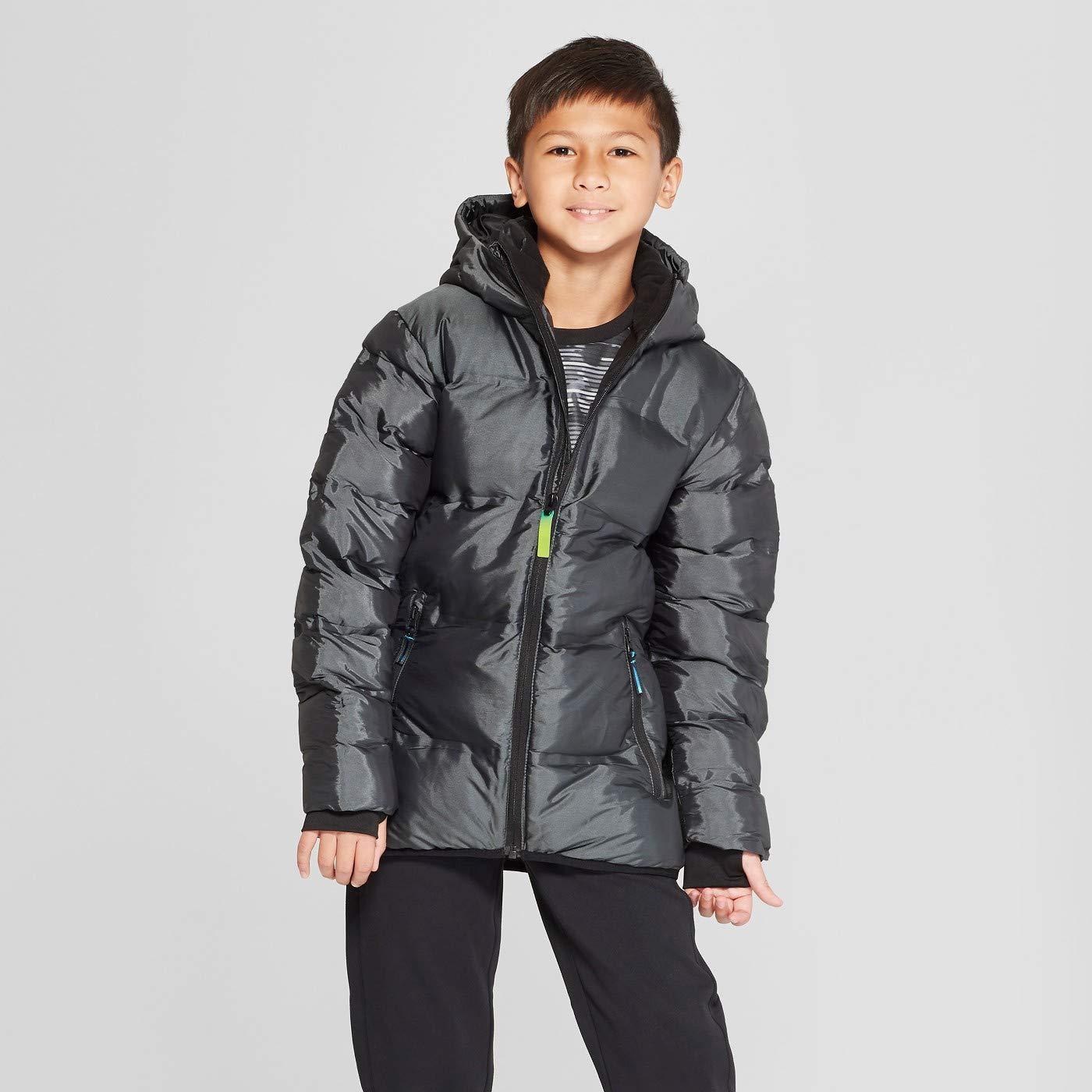 Black Boys Winter Hooded Puffer Jacket Hand Warmers Warmest Lightweight Coat by C9 CHAMPION 4-5 Size XS