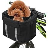 Goofly Folding Bike Basket with Reflective Strips Detachable Handlebar Front Basket Pet Cat Dog Carrier Bag Commuting…