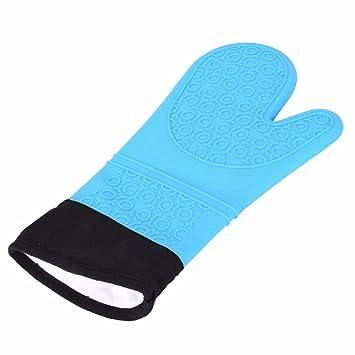 Lqchl Guantes para horno de silicona resistente al calor, guantes ...