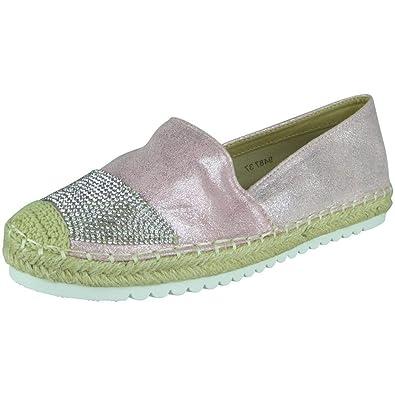 cc3edc3bb Loud Look Womens Ladies Glitter Flat Slip On Ballerina Espadrilles Shoes  Sandals Flats Size 8 Pink: Amazon.co.uk: Shoes & Bags