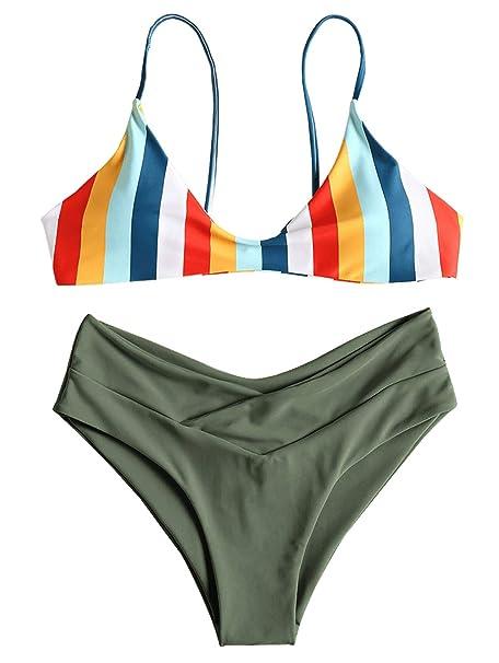 49fb2281b3026 Amazon.com  ZAFUL Womens Spaghetti Strap Striped Self-tie Back High Cut  Cami Bikini Set Swimsuits  Clothing
