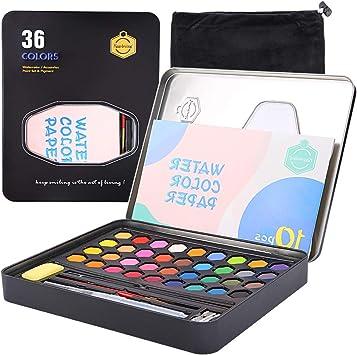 mreechan Set de Pinturas de Acuarela,Set de Acuarelas de 36 Colores de Agua, Incluye 36 Colores,10 Papeles de Acuarela,3 Pinceles de Agua y 1 Esponja para Principiantes y Profesionales: Amazon.es: Juguetes y