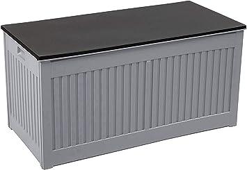 Olsen & Smith - Caja de almacenaje para jardín (plástico, 270 L, 107 x 51 x 53 cm), color gris: Amazon.es: Bricolaje y herramientas
