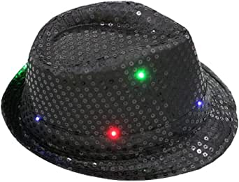 LED Light Up Sequin Fedora Hat Jazz Caps Party Costume Hats Fancy Dance Party Hat Stage Cap Flashing Hat