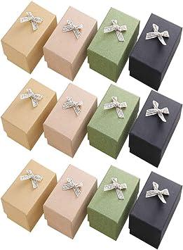 Toyvian - Lote de 12 cajas de regalo de papel para joyas, cajas de regalo para anillos, colgantes, collares, cajas para cumpleaños, bodas y aniversarios: Amazon.es: Salud y cuidado personal