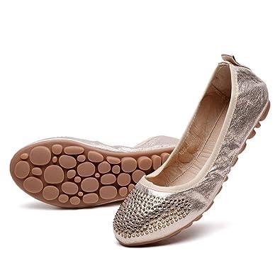 5e0c6bb8126 konhill Women s Foldable Loafer Ballet Flats Slip On Driving Dress Boat  Shoes