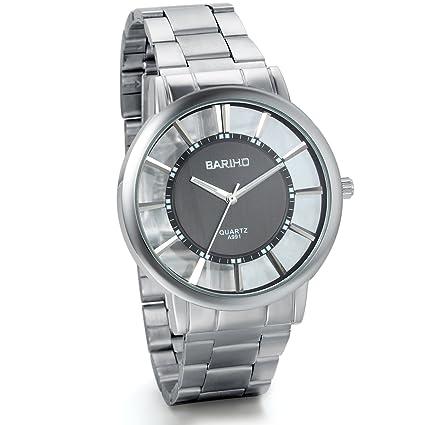 Jewelrywe Parejas relojes transparentes negro grande hueco reloj clásico Correa de acero inoxidable (hombre): Amazon.es: Relojes
