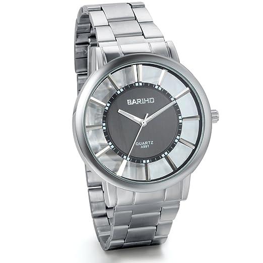 Jewelrywe Parejas relojes transparentes negro grande hueco reloj clásico Correa de acero inoxidable (hombre)