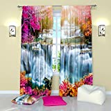 Landscape Curtains by Factory4me Waterfall Place of a dream. Window Curtain Set of 2 Panels Each W52 x L96 Total W104 x L96 inches Drapes for Living Room Bedroom Kitchen