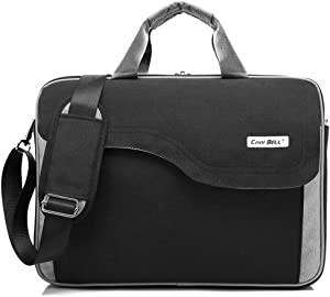 CoolBELL 15.6 Inch Nylon Laptop Bag Shoulder Bag with Strap Multicompartment Messenger Hand Bag Tablet Briefcase for iPad Pro/Laptop/MacBook/Ultrabook/Men/Women/College (Black)
