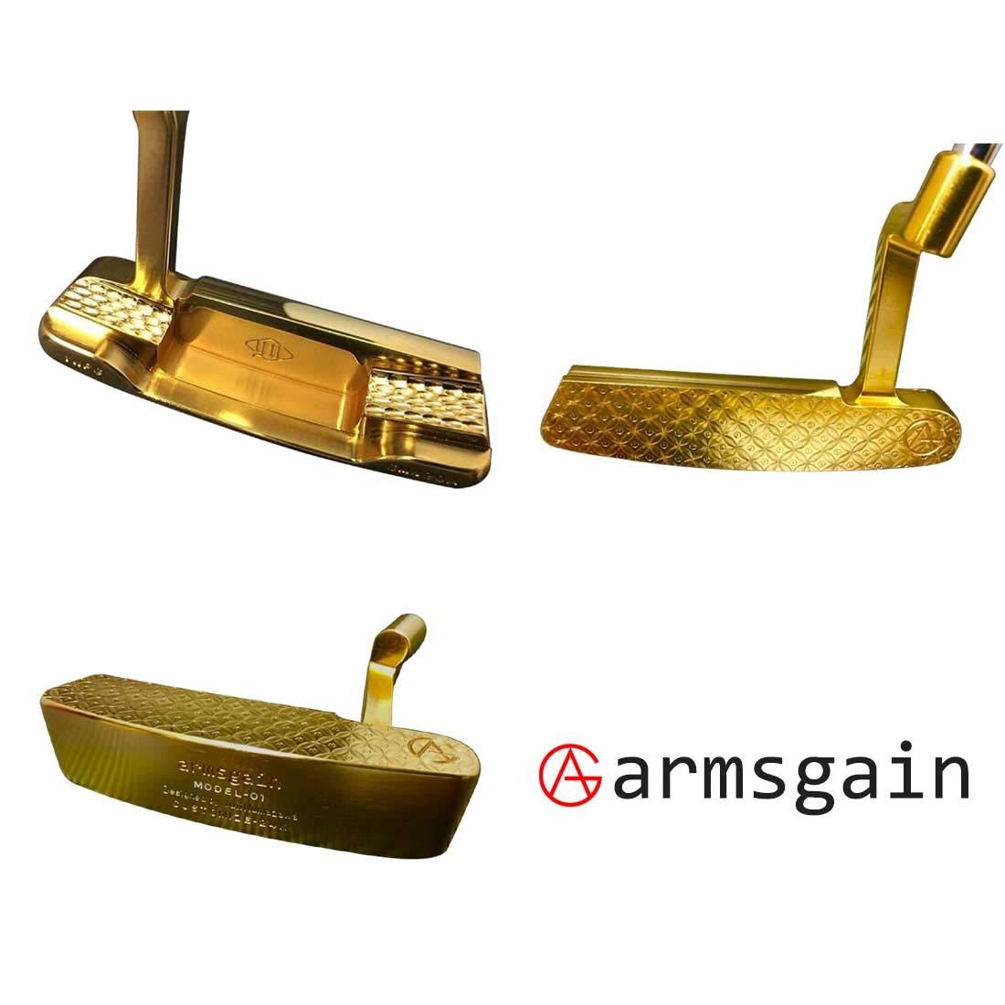 アームスゲイン(armsgain) パター Model-01【クランクネックタイプ】 SM490A 純金24kコーティング仕様 33インチ パター