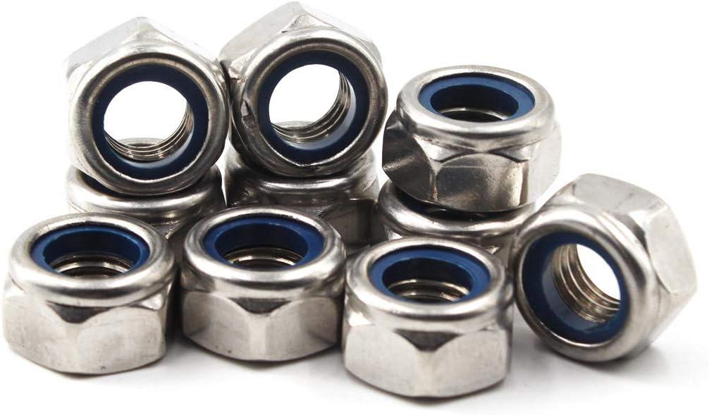10 piezas M14 Tuerca de seguridad hexagonal m/étrica 304 Inserto de nylon de acero inoxidable