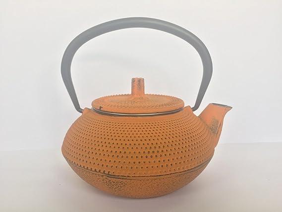 Tetera de hierro colado con filtro - capacidad 0,55 y 0,3 litros – PACK AHORRO 2 teteras – color naranja – para vitrocerámica, inducción y gas – dos ...