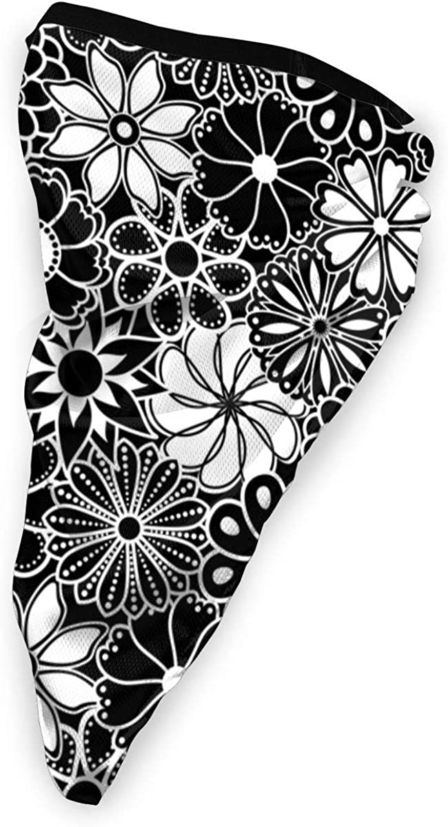 Wind-Resistant Face Mask/& Neck Gaiter,Balaclava Ski Masks,Breathable Tactical Hood,Windproof Face Warmer for Running,Motorcycling,Hiking-Mid Century Hawaiian Flower Print Black and White