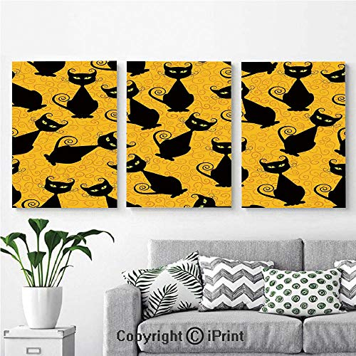 Canvas Prints Modern Art Framed Wall Mural Black Cat Pattern on Orange Background Halloween Witch Pet Graphic Decorative for Home Decor 3 Panels,Wall Decorations for Living Room Bedroom Dining Room