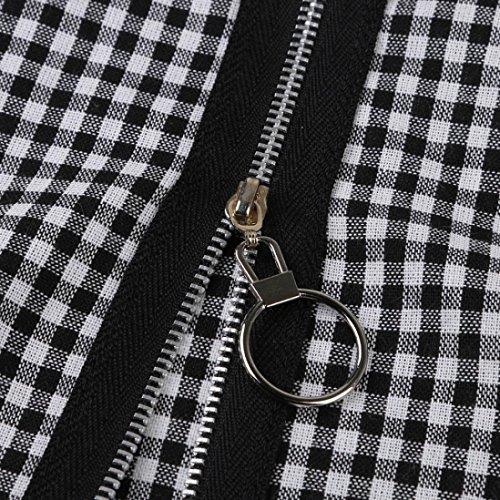 ADESHOP Femmes Lattice Zip Retro Treillis Jupe ÉPisséE Zipper Jupe Taille Haute Mode Serré Zipper éCossais Jupe