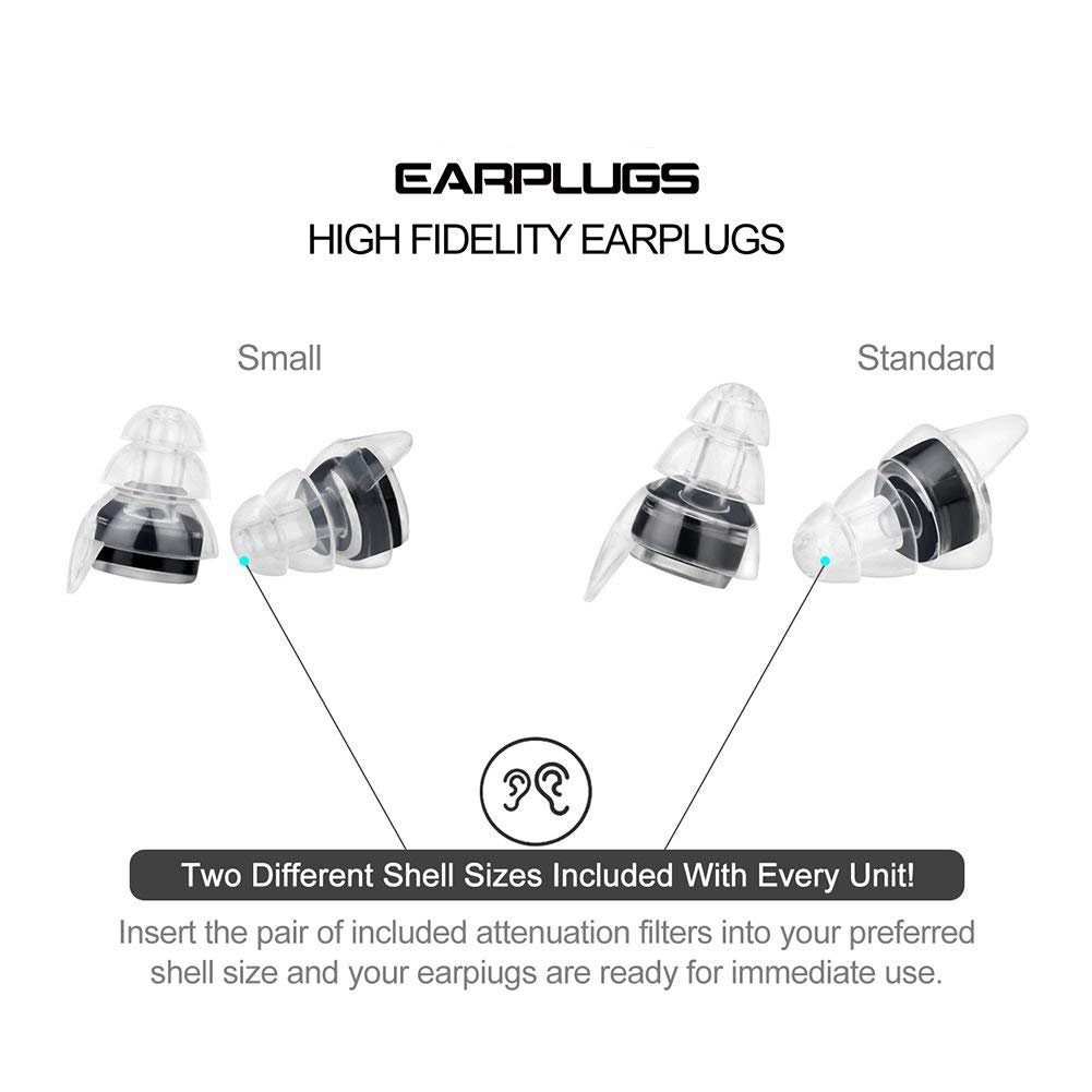 Noise Cancelling Ear Plugs - Earplugs for Concerts Musicians, High Fidelity Acoustics for Travel, Sleeping, Swimming, Shooting Motorcycles and Isolate Industrial Sounds - Two Sizes by Eurlove (Image #3)