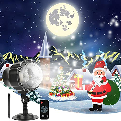 Christmas LED Snowfall Projector Lights, Snowflake Projector Lights, Waterproof Snow Flurries Landscape Spotlight with RF Remote for Xmas Halloween Party Wedding and Garden