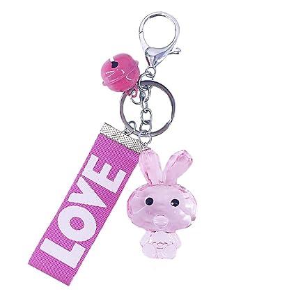 0428175ba40e Amazon.com: Qinlee Transparent Bunny Keychain Key Ring Bag Pendant ...
