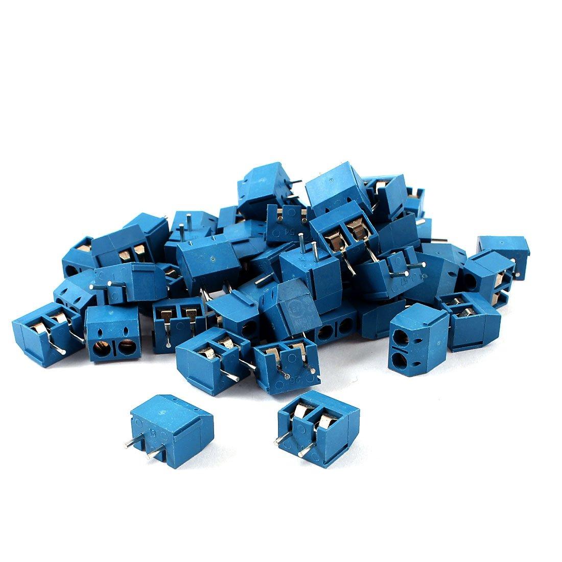 uxcell 50pcs 5mm Spacing PCB Mount Screw Terminal Blocks Blue 300V 16A