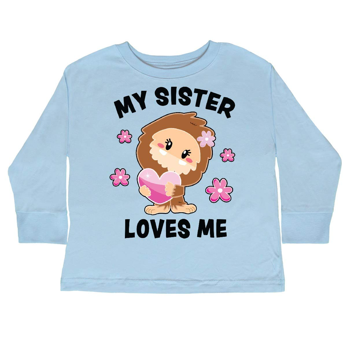 inktastic My Sister Loves Me with Bigfoot Toddler Long Sleeve T-Shirt