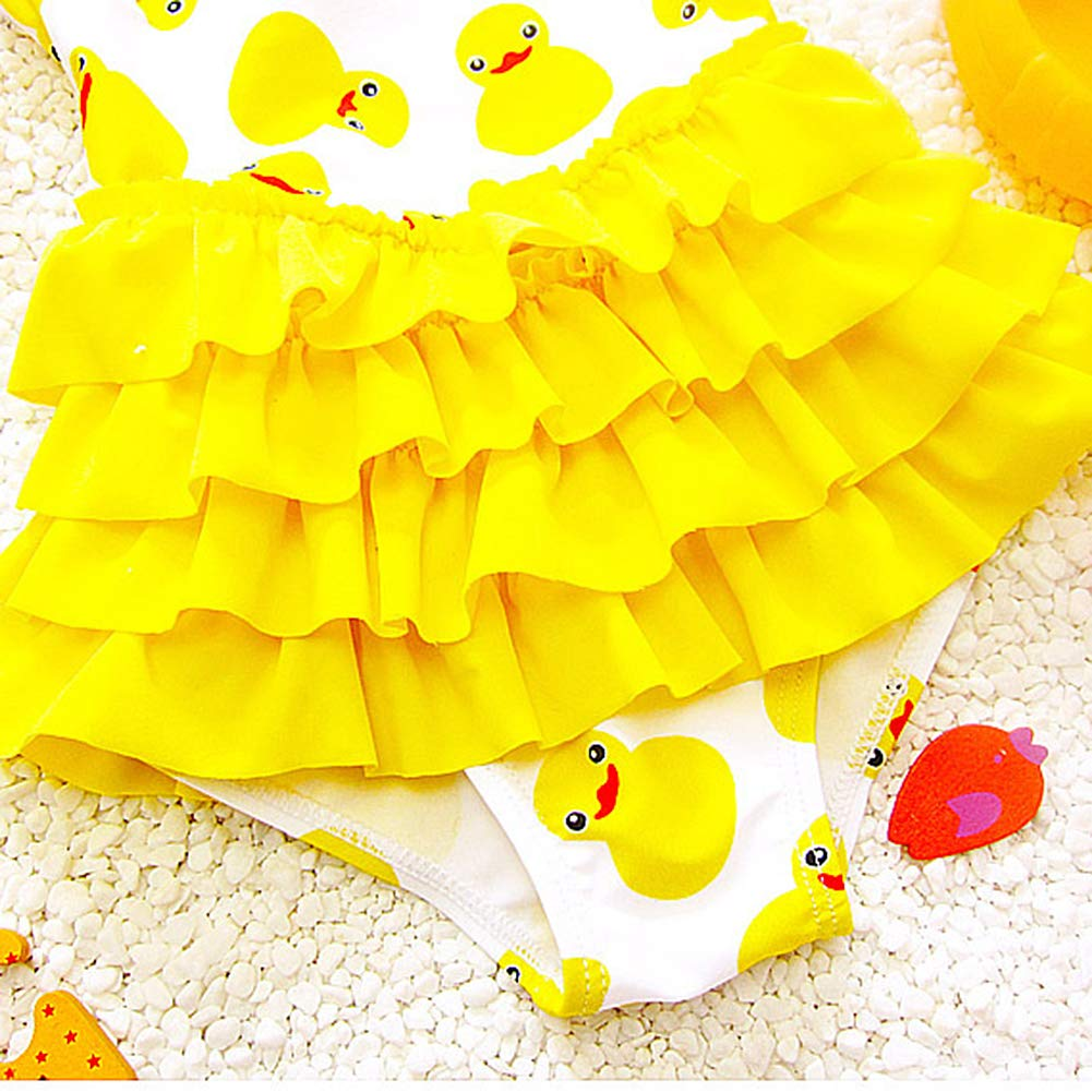 Swim Cap for Kids 3-13 Years Dear Tomorrow 2PCS One-Piece Baby Girls Swimsuit Duck Swimwear